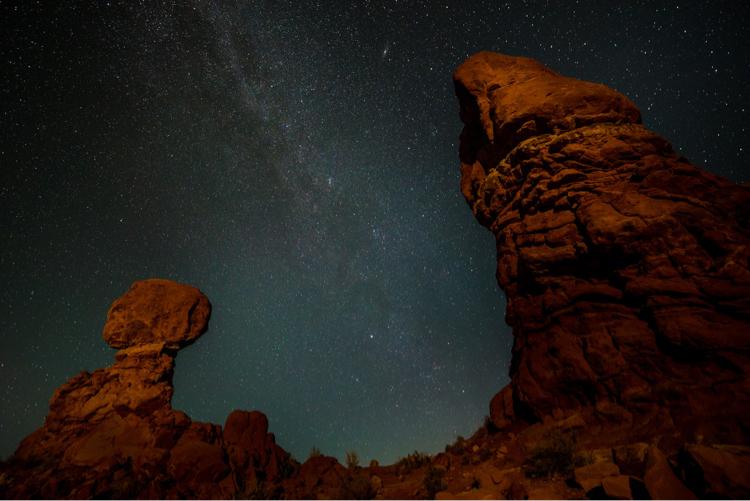 Balanced Rock, Arches National Park, at Night