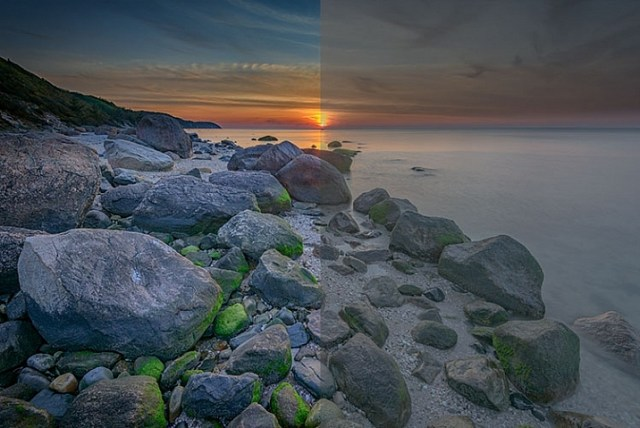 An image showing before and after color grading.