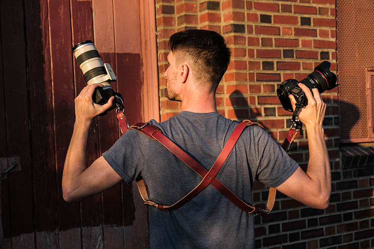 Heavy duty DSLR leather and fabric camera strap by t