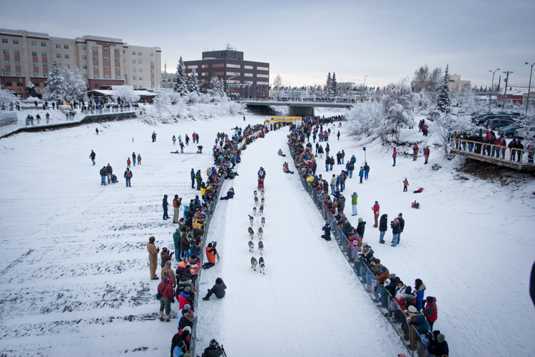 This broad perspective is also an effective way to tell the story, showing the rows of spectators and the buildings of Fairbanks in the background.