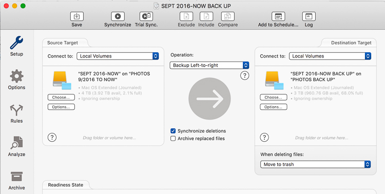 Backing up images traveling 10