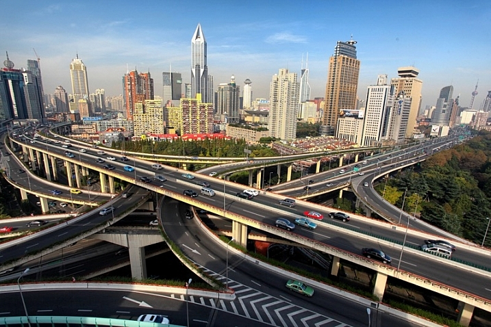 A wide angle photo of a famous road junction in Shanghai.