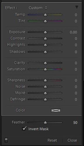 LR radial filter panel editing options 3
