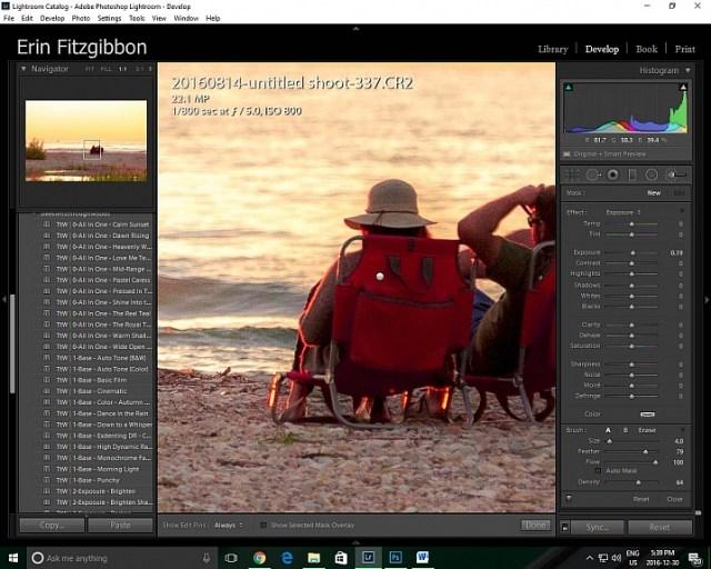 Lightroom features 1:1 preview window