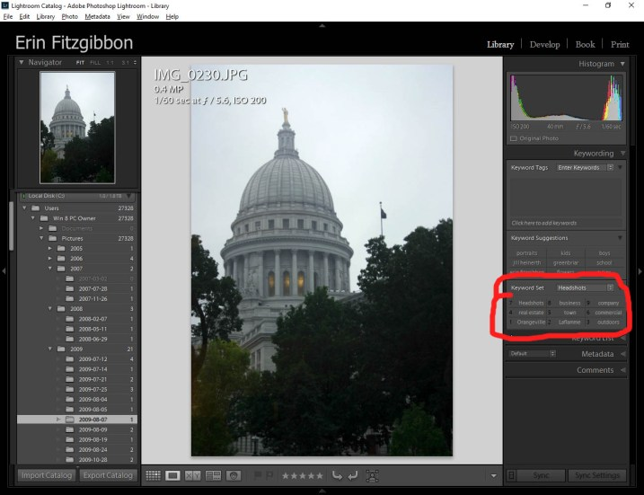 Alt key Lightroom Library module