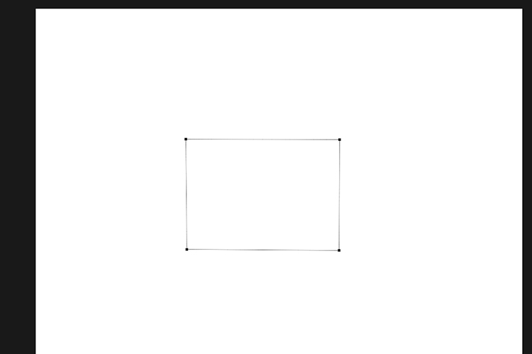 Clicking four anchor points to create a square or rectangle path. Pen tool