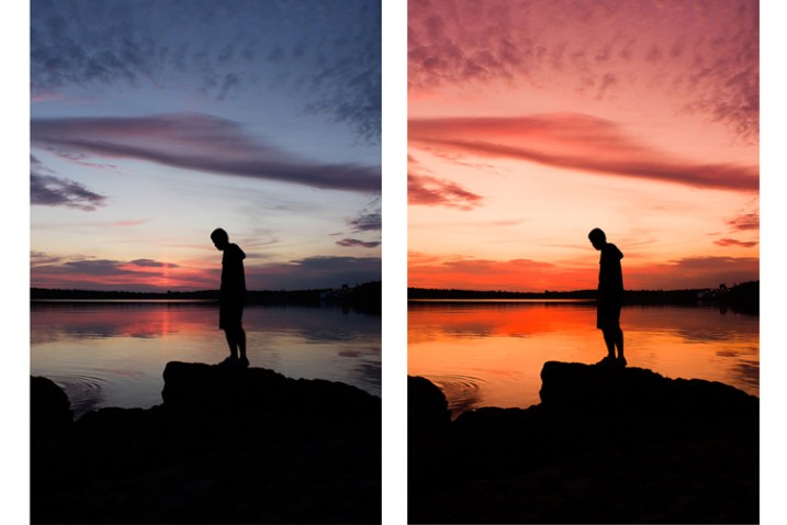 A photo edited in two different ways, showing how white balance can influence the mood of an image