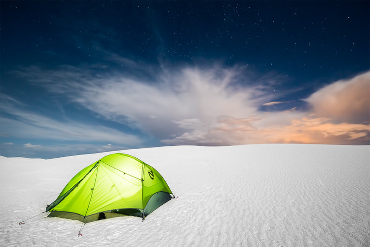 Image: Camping at White Sands National Monument in New Mexico. One exposure was taken for the sky an...