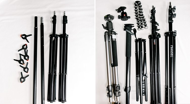 Image: Left image: background stand (Photosel) and clamps (Neewer)Right image: Manfrotto Monopod wit...