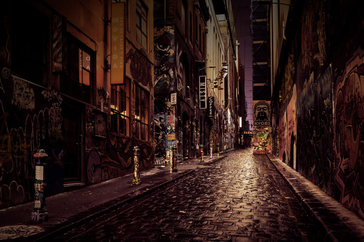 narrow street in the city