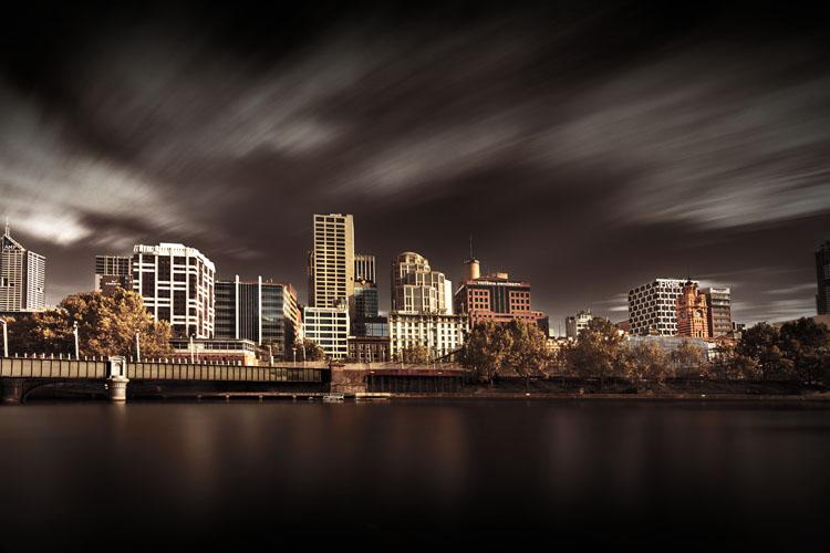 long exposure waterside cityscape
