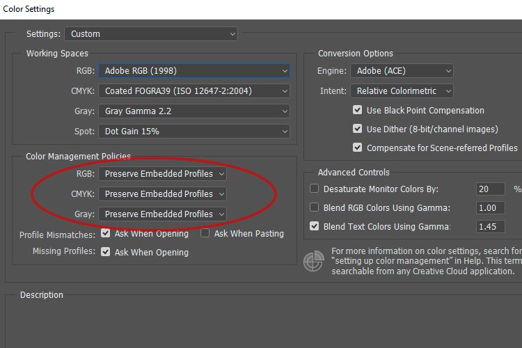 3a Preserve Embedded Profiles - 6 Color Settings in Photoshop That You Need to Know