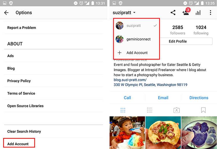 Instagram Add Account
