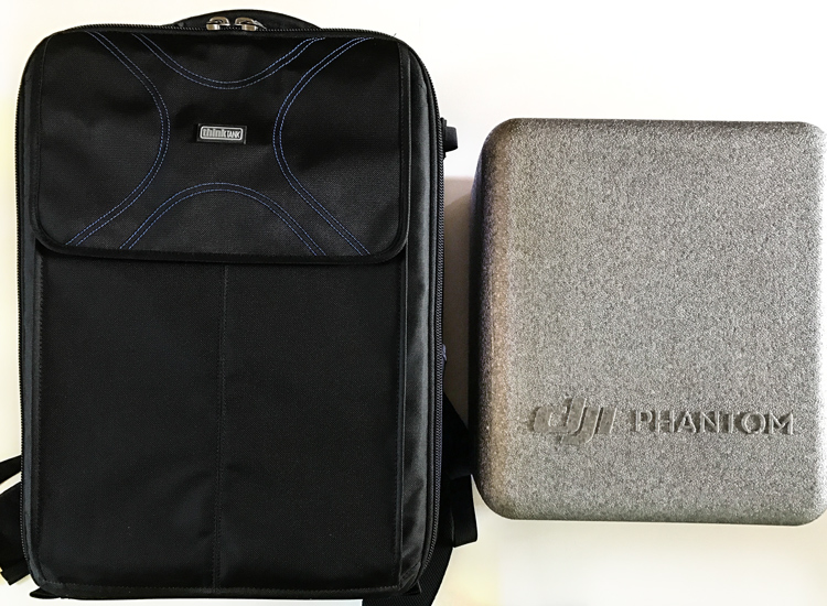 Image: The ThinkTank Airport Helipak (left) and the carrying case that comes with the DJI Phantom 4...