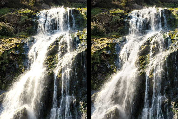 The water in the image on the left had no masks applied when global edits were applied using Adjustment Layers. Masks were used on the image on the left to preserve the highlights of the water.
