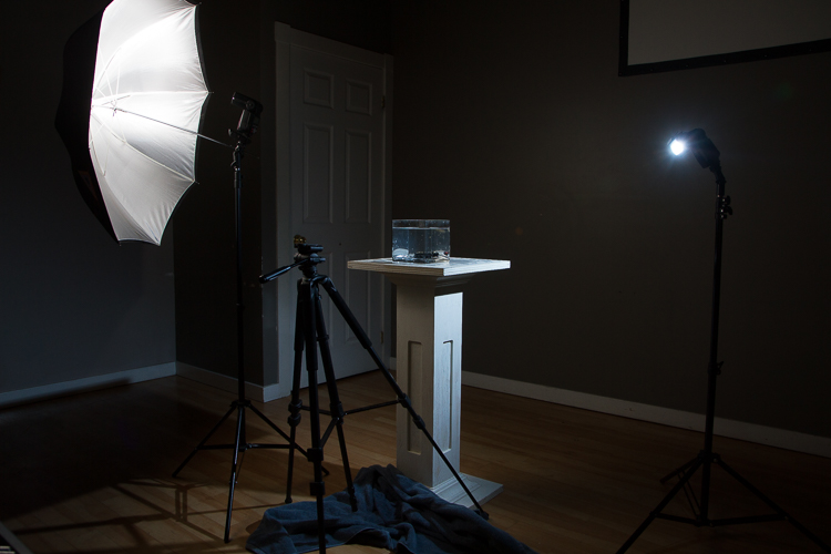 A behind the scenes shot of the setup for water splash photography