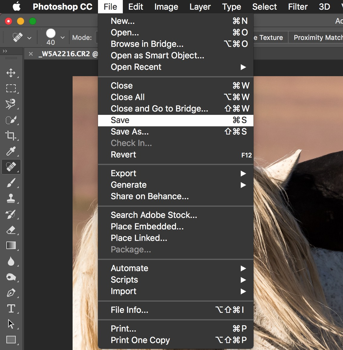 Photoshop Spot Healing Brush Tool - save