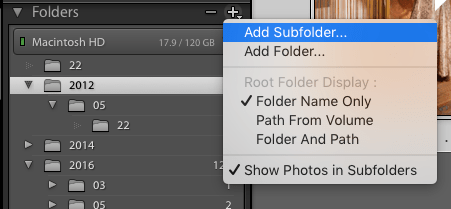 Click the + Icon for more Folder options