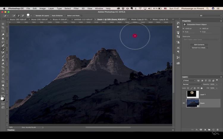 Add moon photoshop 14