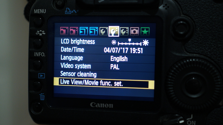 Image: With Canon, you may have to turn on Live View mode before the movie options will appear in th...