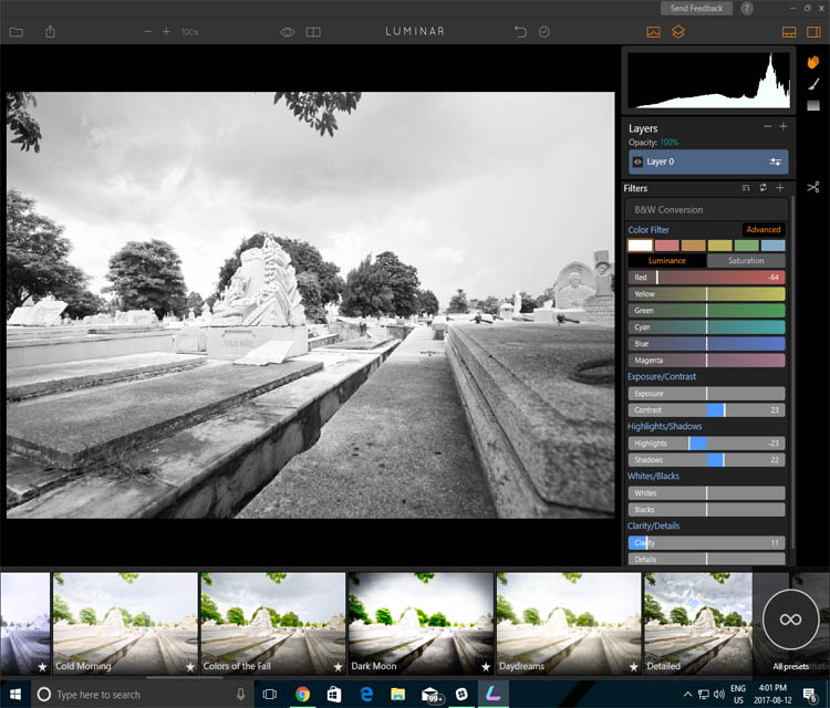 Black and white photo processing software