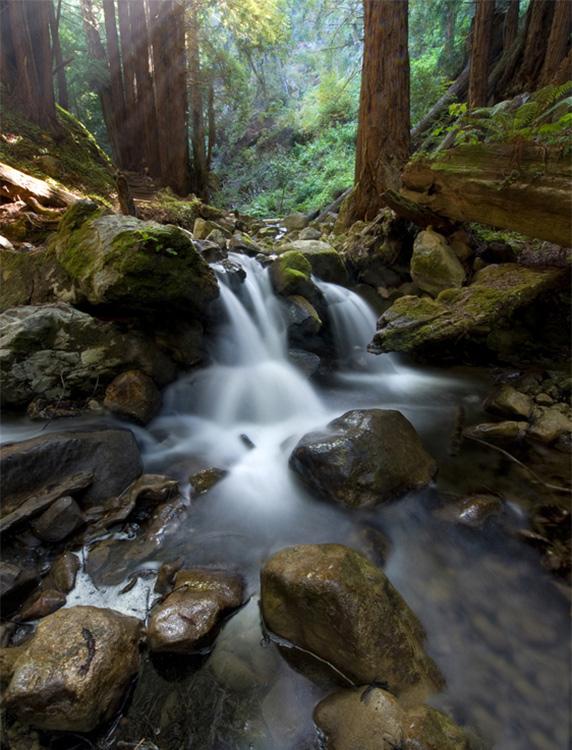shaded light waterfall