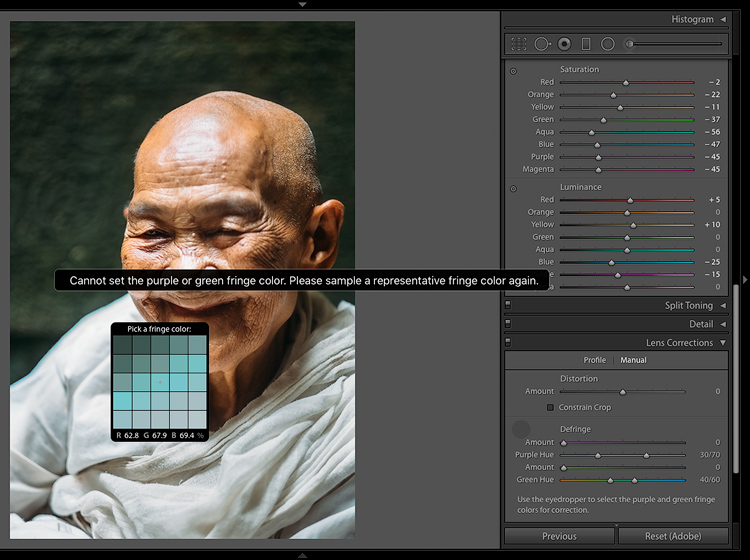 Fringe color selector - 5 Reasons for Lightroom Photographers to Use the Edit In Photoshop Feature