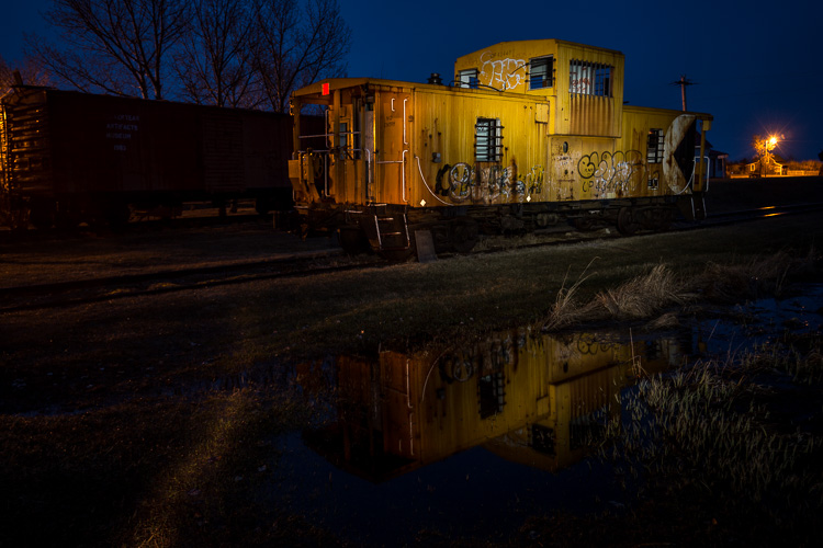 Image: Light painted train caboose.