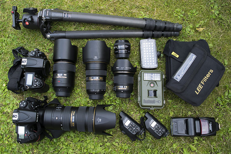 gear laid out on the grass