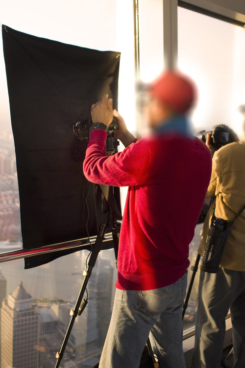 Blackout curtain Tips for Shooting Through the Glass Window of an Observation Deck at Blue Hour