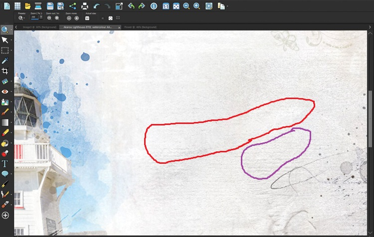 Image: Here you can see a line of blur where I have used the Scratch Remover (red circle). I have al...