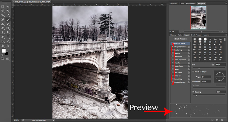 Brush Properties - Two Ways to Make it Snow in Photoshop
