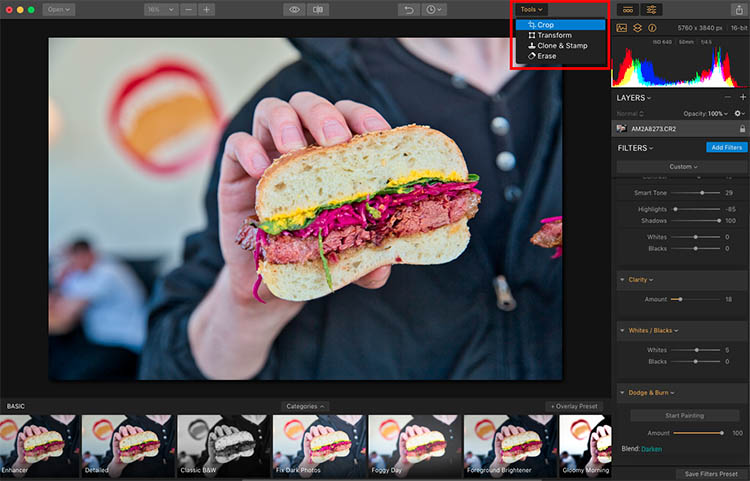 Luminar Crop - How to Make Food Photos Look Tastier with Luminar