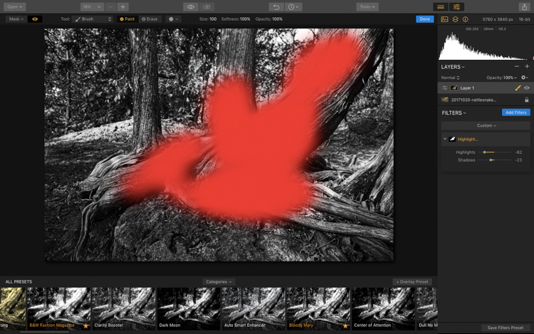 Image: Here you can see how I am applying the Highlight/Shadow filter only to a select area using th...