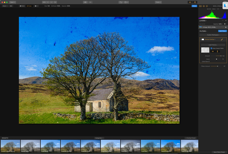 Image: In this photo, I've brushed the texture away from the cottage.