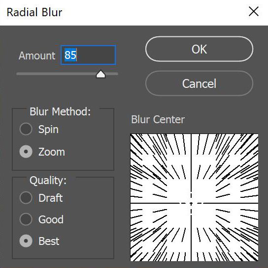 Radial Blur Dialogue - How to use Photoshop Droplets and Actions to Automate Your Workflow