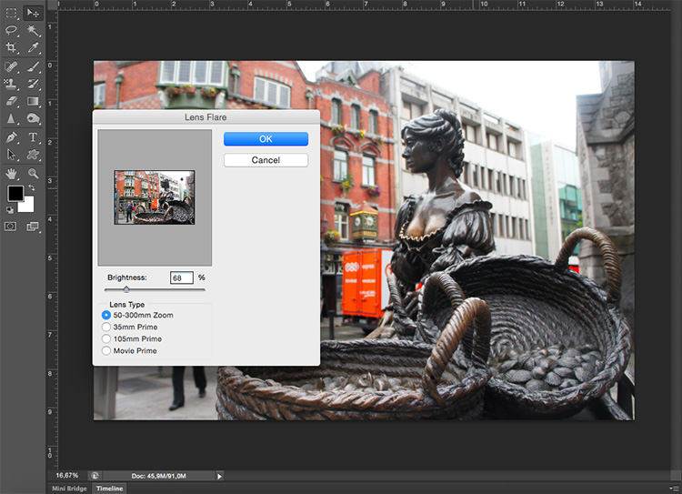 Photoshop Lens Flare Filter Tutorial Menu