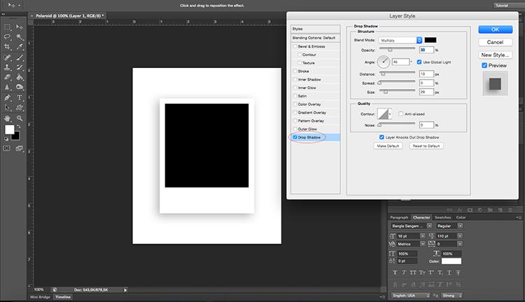 Polaroid effect tutorial drop shadow