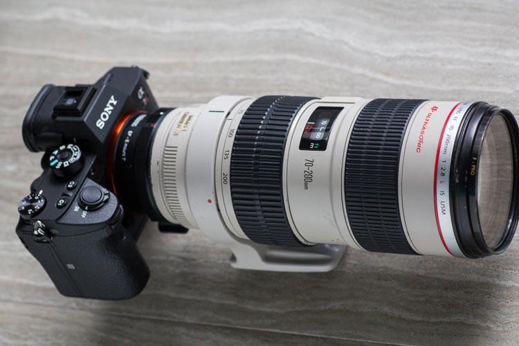 Metabones V Canon EF Sony E-Mount adapter - 70-200mm lens mounted