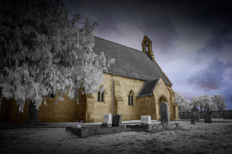 hand colored IR image of a church - Tips for Converting an Old Camera for Shooting Infrared Photography