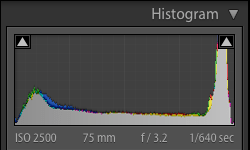 The histogram of a hockey picture - Tips for Editing Hockey Photos in Lightroom