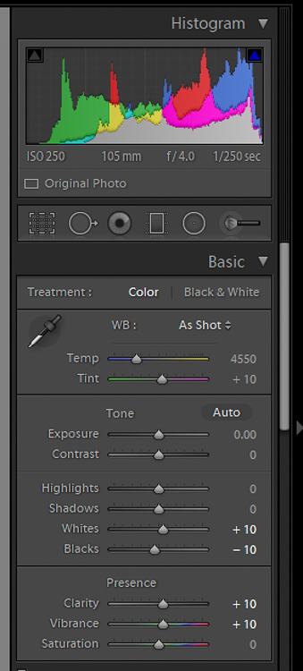 Image: Use the Temp and Tint sliders to adjust the White Balance.