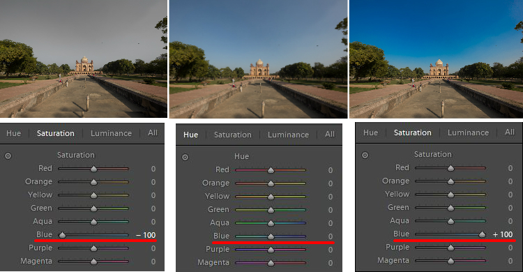 How to Use the Lightroom HSL Panel for Landscape Photo Editing - blue saturation slider