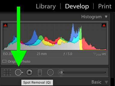 how to open the Lightroom Spot Removal Tool