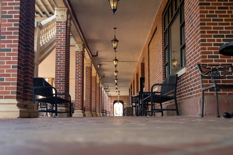 low camera angle of a long passageway