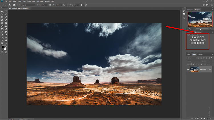 How to Easily Make a LUT in Photoshop - adjustment panel in PS