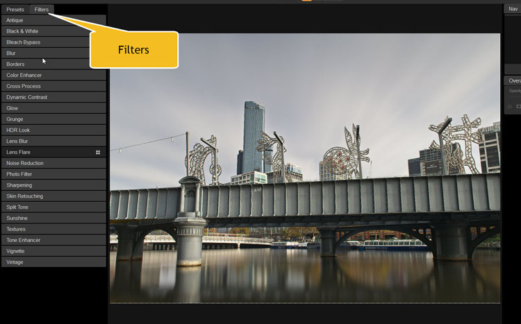Image: In Effects, you also get to use special filters to apply to your images.
