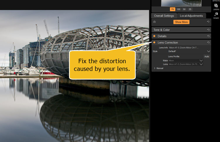 Image: Lens Correction is where you can fix the distortion that your lens can cause.