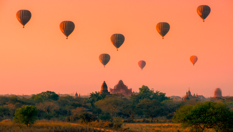 Balloons over Bagan Myanmar - 7 Tips for How to Fix Bad Lighting