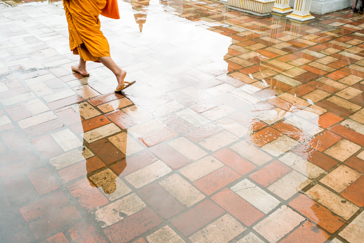 Reflection of a monk in a puddle of water - improve your photography